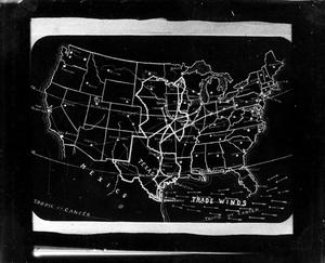 Primary view of object titled '[Map of United States indicating trade winds and major rail lines]'.