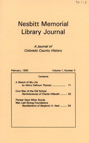 Primary view of object titled 'Nesbitt Memorial Library Journal, Volume 1, Number 3, February, 1990'.