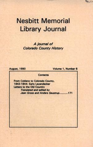 Primary view of object titled 'Nesbitt Memorial Library Journal, Volume 1, Number 6, August, 1990'.