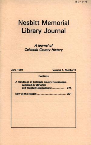 Primary view of object titled 'Nesbitt Memorial Library Journal, Volume 1, Number 9, June, 1991'.
