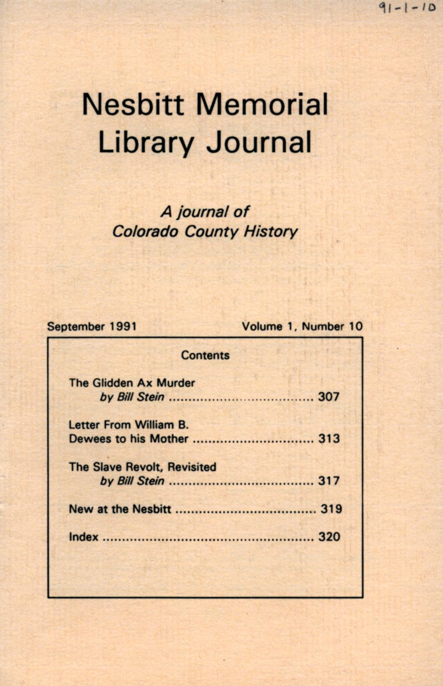 Nesbitt Memorial Library Journal, Volume 1, Number 10, September, 1991                                                                                                      Front Cover