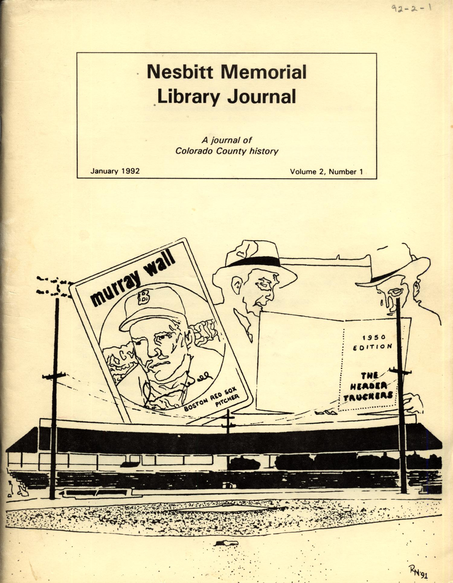 Nesbitt Memorial Library Journal, Volume 2, Number 1, January, 1992                                                                                                      Front Cover