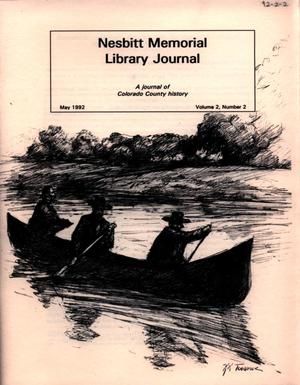 Primary view of object titled 'Nesbitt Memorial Library Journal, Volume 2, Number 2, May, 1992'.