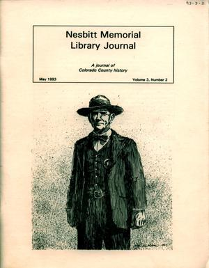 Primary view of object titled 'Nesbitt Memorial Library Journal, Volume 3, Number 2, May, 1993'.