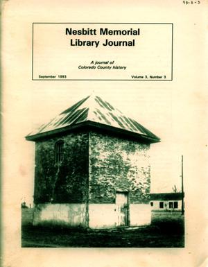 Primary view of object titled 'Nesbitt Memorial Library Journal, Volume 3, Number 3, September, 1993'.