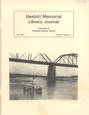 Primary view of object titled 'Nesbitt Memorial Library Journal, Volume 4, Number 2, May, 1994'.