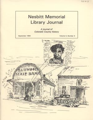 Primary view of object titled 'Nesbitt Memorial Library Journal, Volume 4, Number 3, September, 1994'.