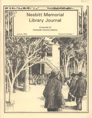 Primary view of object titled 'Nesbitt Memorial Library Journal, Volume 5, Number 1, January, 1995'.