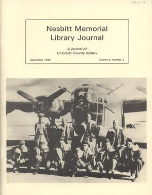 Primary view of object titled 'Nesbitt Memorial Library Journal, Volume 5, Number 3, September, 1995'.
