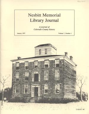 Primary view of object titled 'Nesbitt Memorial Library Journal, Volume 7, Number 1, January, 1997'.