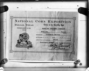 Primary view of object titled 'First Prize - Creamery Butter - Southern Zone at the National Corn Exposition, Dallas Texas'.
