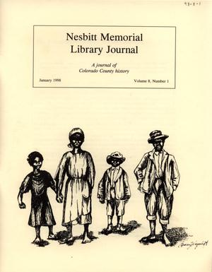 Primary view of object titled 'Nesbitt Memorial Library Journal, Volume 8, Number 1, January, 1998'.