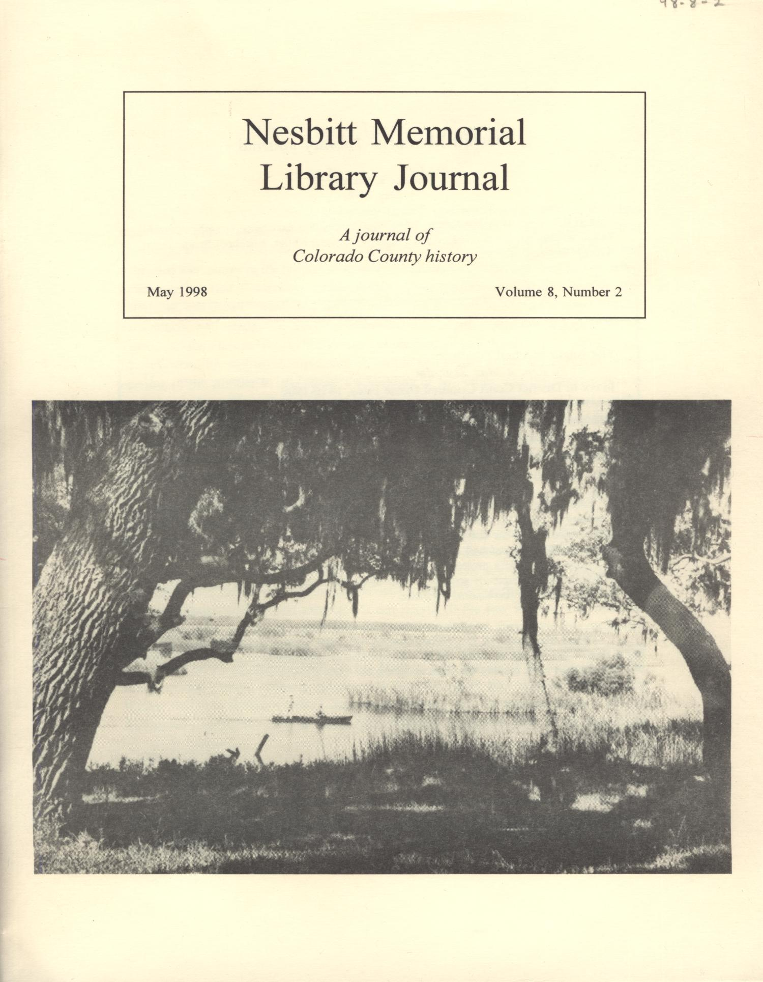 Nesbitt Memorial Library Journal, Volume 8, Number 2, May, 1998                                                                                                      Front Cover