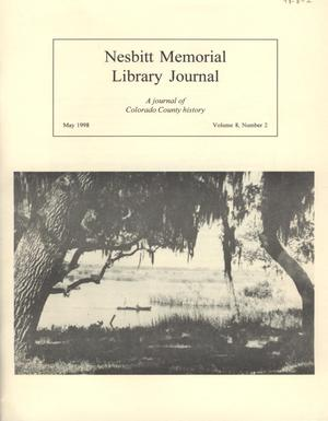 Primary view of object titled 'Nesbitt Memorial Library Journal, Volume 8, Number 2, May, 1998'.