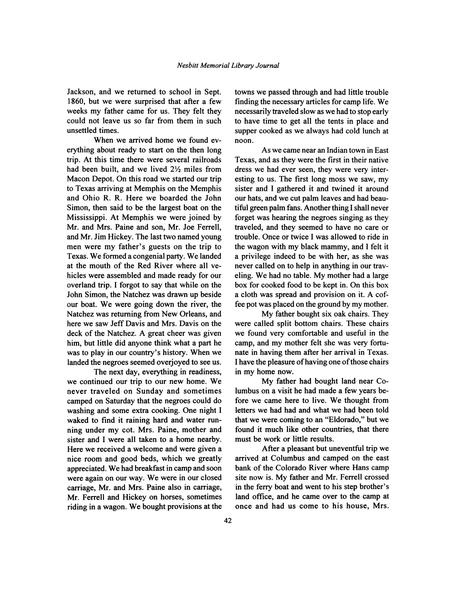 Nesbitt Memorial Library Journal, Volume 9, Number 1, January, 1999                                                                                                      42