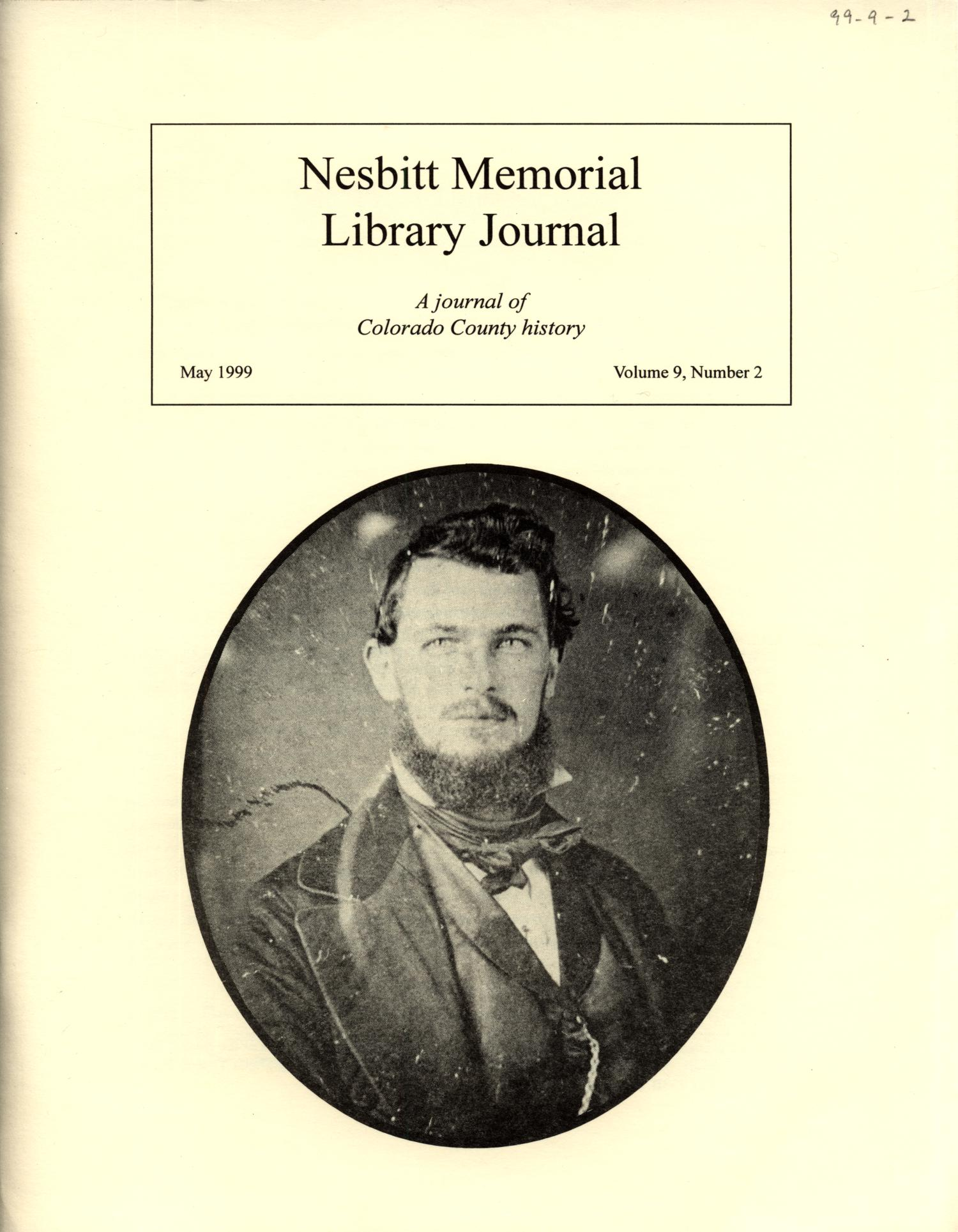 Nesbitt Memorial Library Journal, Volume 9, Number 2, May, 1999                                                                                                      Front Cover