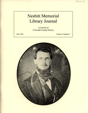 Primary view of object titled 'Nesbitt Memorial Library Journal, Volume 9, Number 2, May, 1999'.