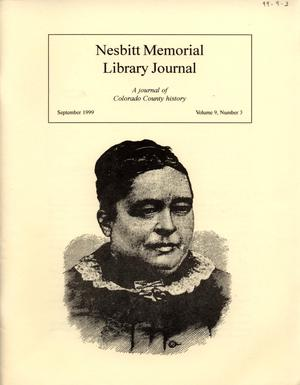 Primary view of object titled 'Nesbitt Memorial Library Journal, Volume 9, Number 3, September, 1999'.