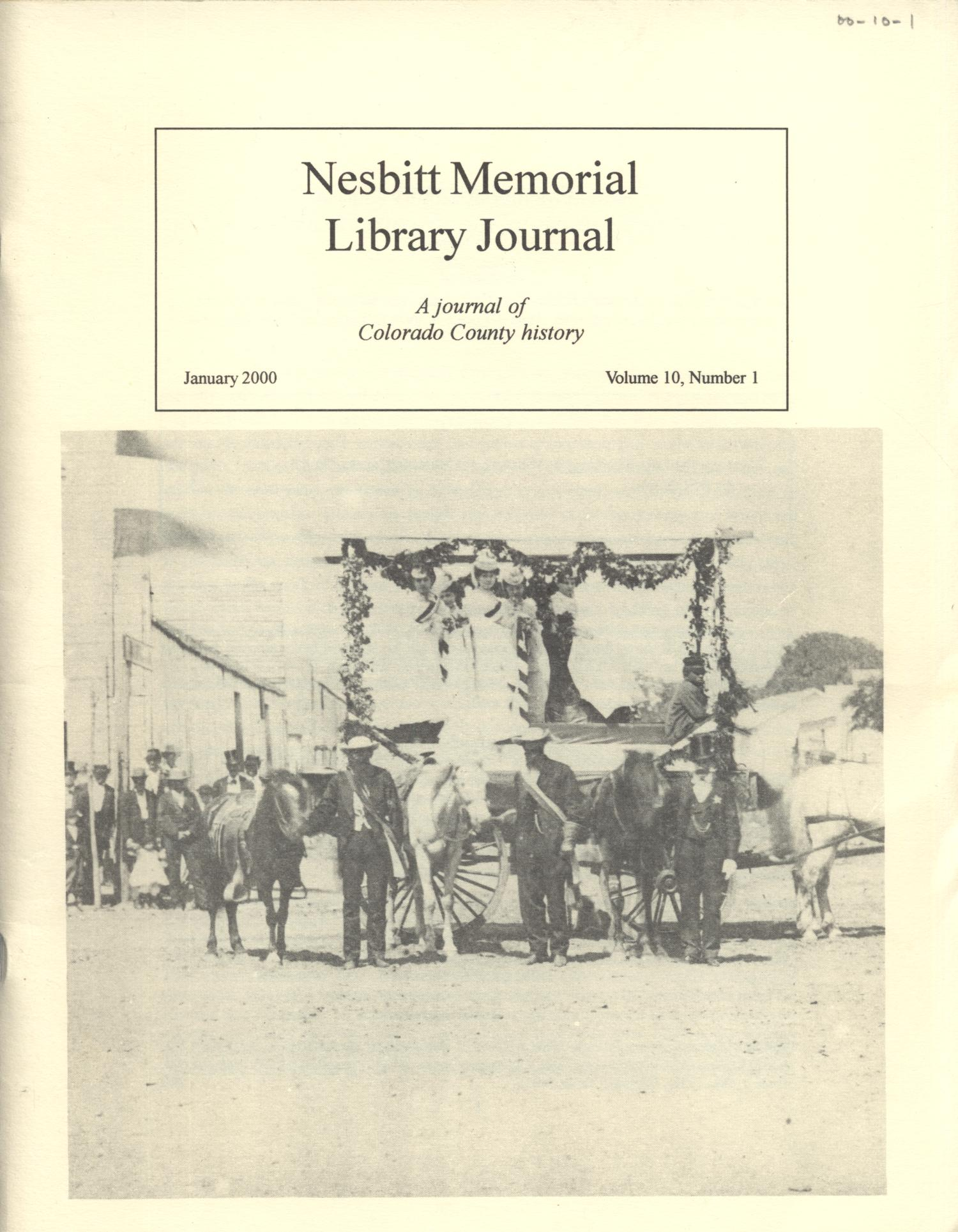 Nesbitt Memorial Library Journal, Volume 10, Number 1, January, 2000                                                                                                      Front Cover