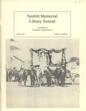 Primary view of object titled 'Nesbitt Memorial Library Journal, Volume 10, Number 1, January, 2000'.
