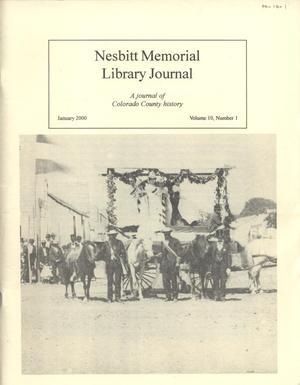 Nesbitt Memorial Library Journal, Volume 10, Number 1, January, 2000