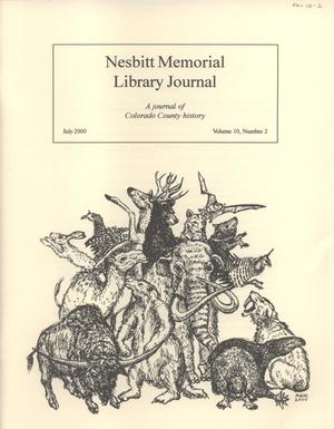 Primary view of object titled 'Nesbitt Memorial Library Journal, Volume 10, Number 2, July, 2000'.