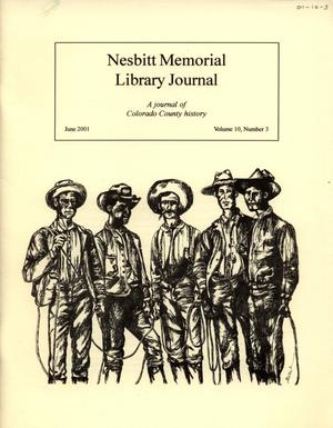 Primary view of object titled 'Nesbitt Memorial Library Journal, Volume 10, Number 3, June, 2001'.