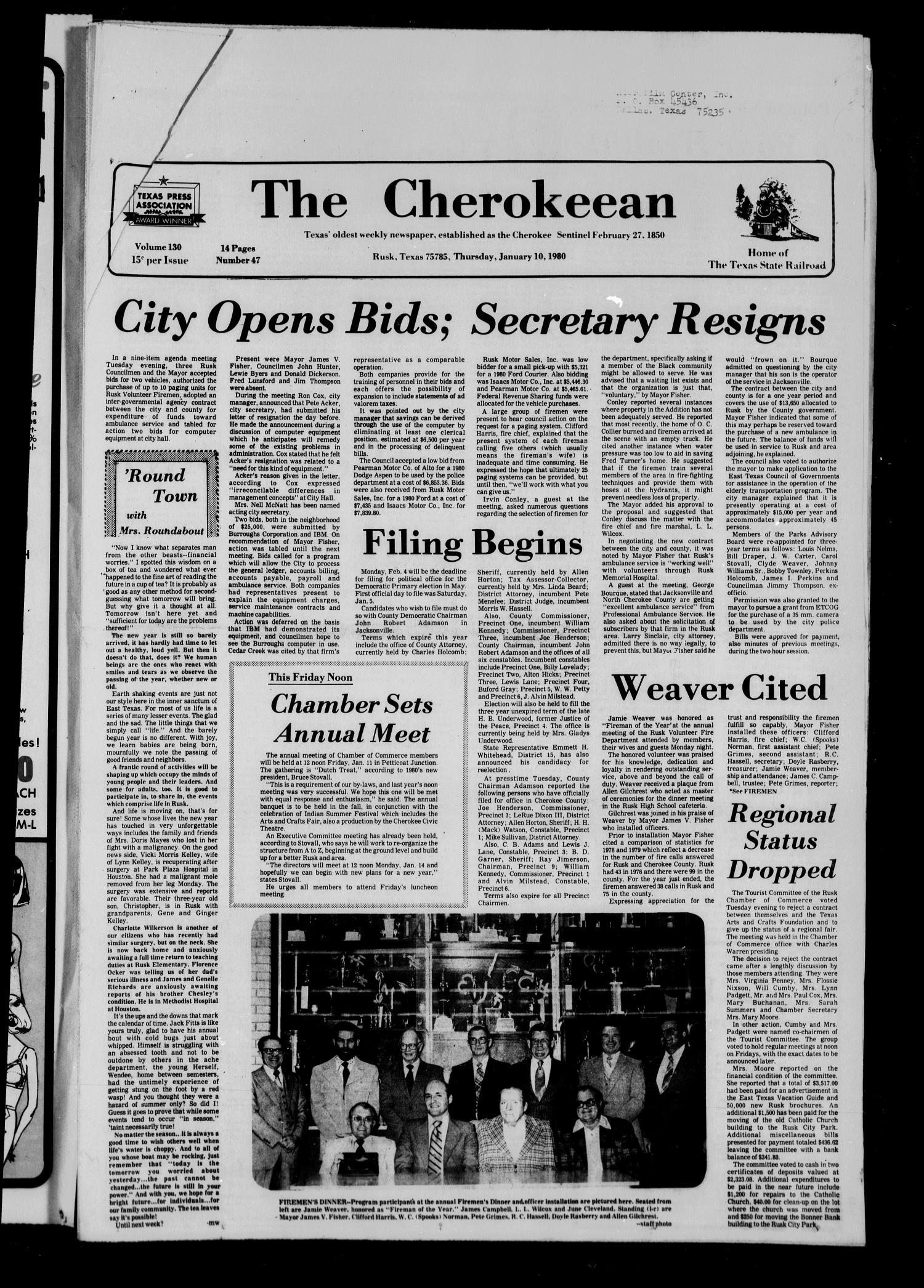 The Cherokeean. (Rusk, Tex.), Vol. 130, No. 47, Ed. 1 Thursday, January 10, 1980                                                                                                      [Sequence #]: 1 of 14