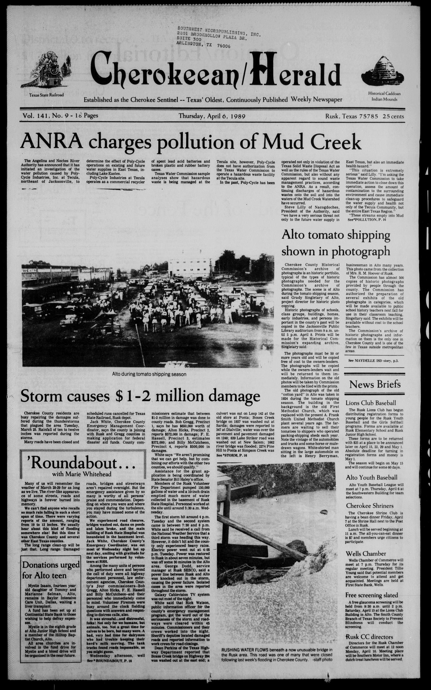 Cherokeean/Herald (Rusk, Tex.), Vol. 141, No. 9, Ed. 1 Thursday, April 6, 1989                                                                                                      [Sequence #]: 1 of 20