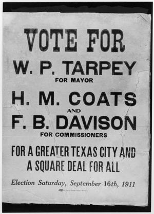 Primary view of object titled '[Election poster for the first Texas City election in 1911]'.