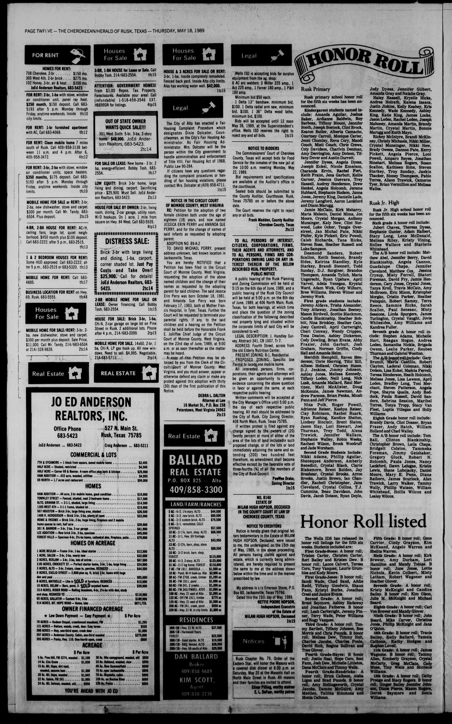 Cherokeean/Herald (Rusk, Tex.), Vol. 141, No. 15, Ed. 1 Thursday, May 18, 1989                                                                                                      [Sequence #]: 12 of 18