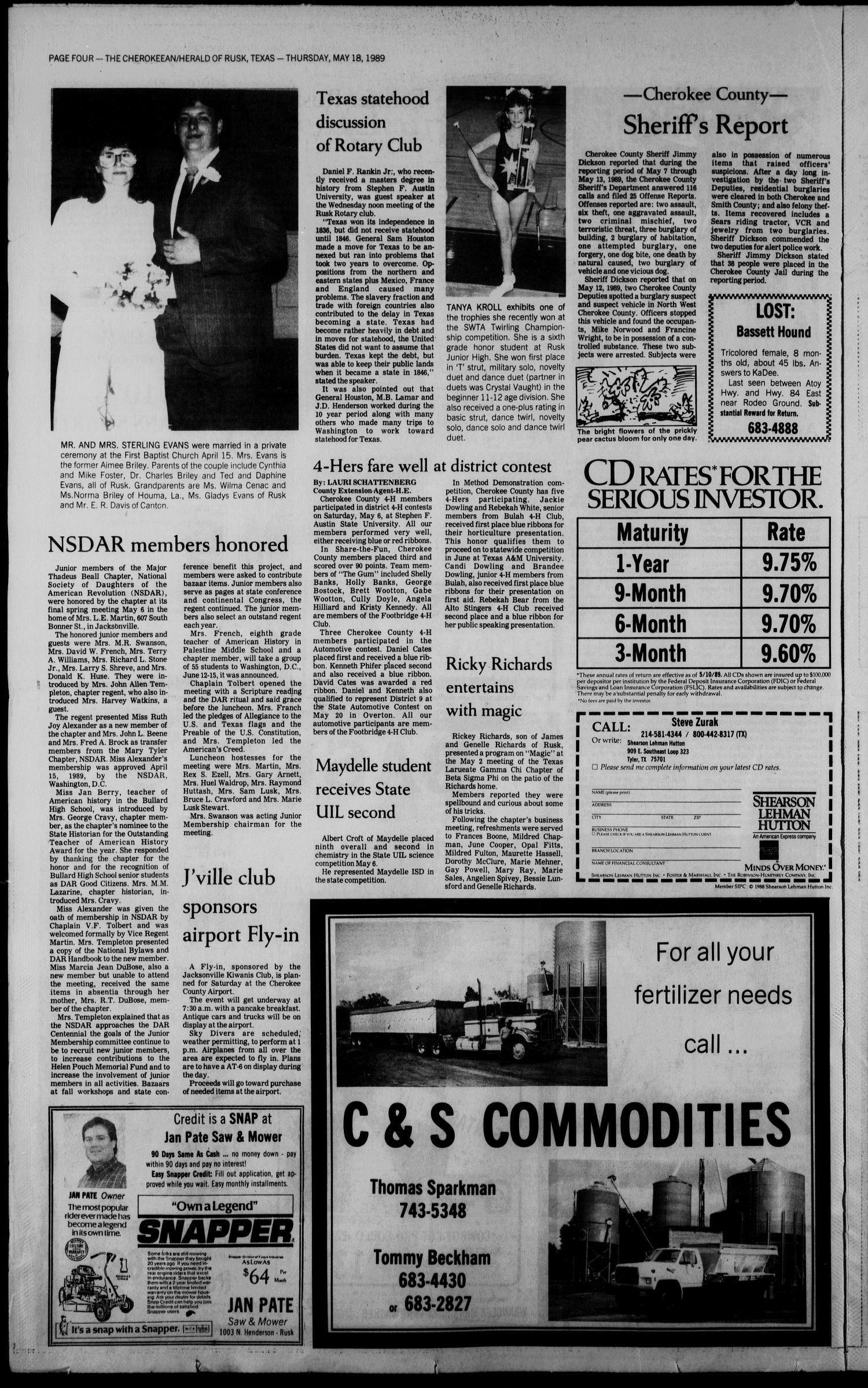 Cherokeean/Herald (Rusk, Tex.), Vol. 141, No. 15, Ed. 1 Thursday, May 18, 1989                                                                                                      [Sequence #]: 4 of 18