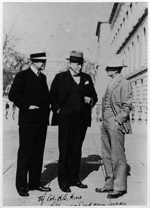 [Col. Hugh B. Moore in conversation with Congressman Clark Thompson and Ray Miller]