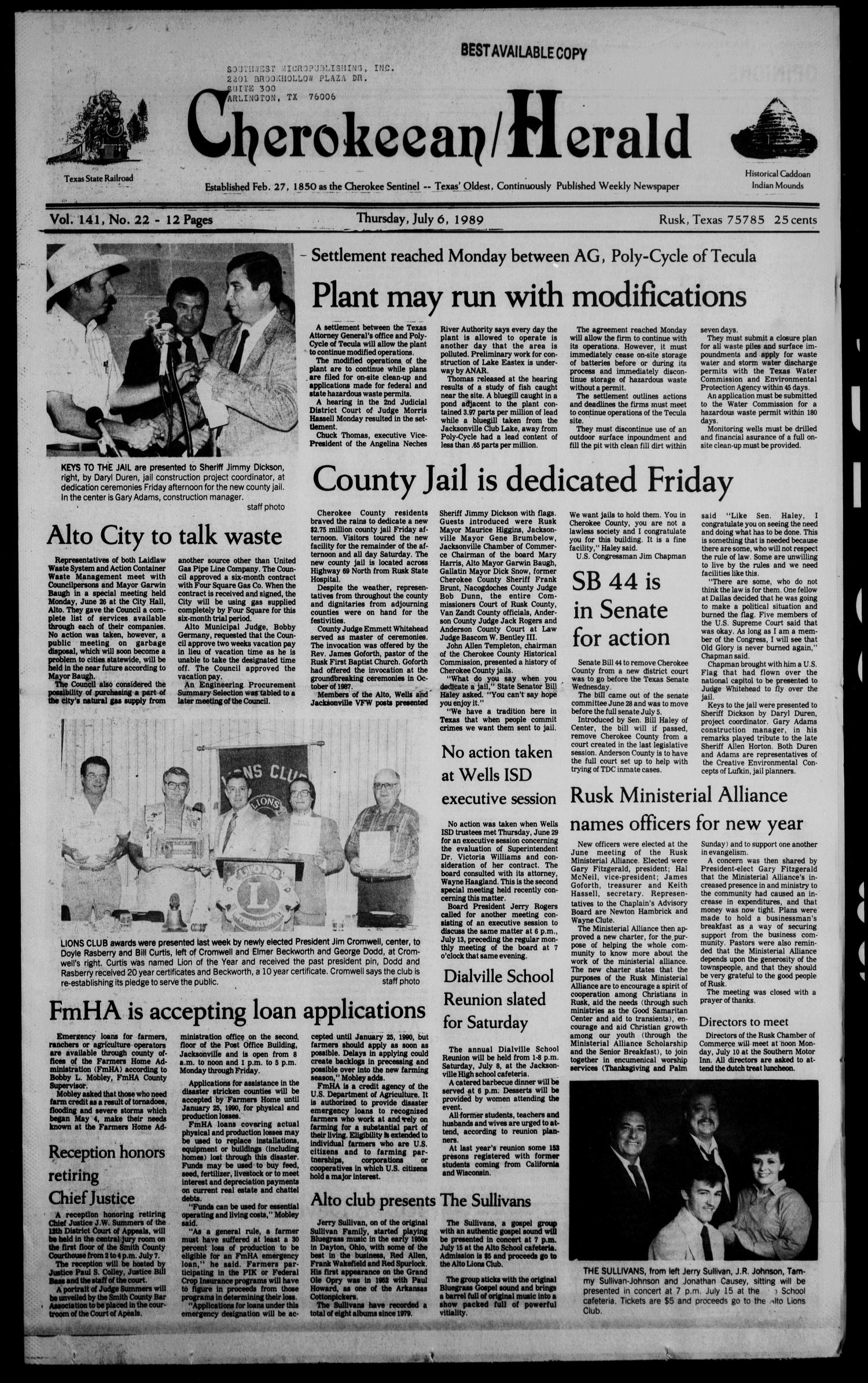 Cherokeean/Herald (Rusk, Tex.), Vol. 141, No. 22, Ed. 1 Thursday, July 6, 1989                                                                                                      [Sequence #]: 1 of 16