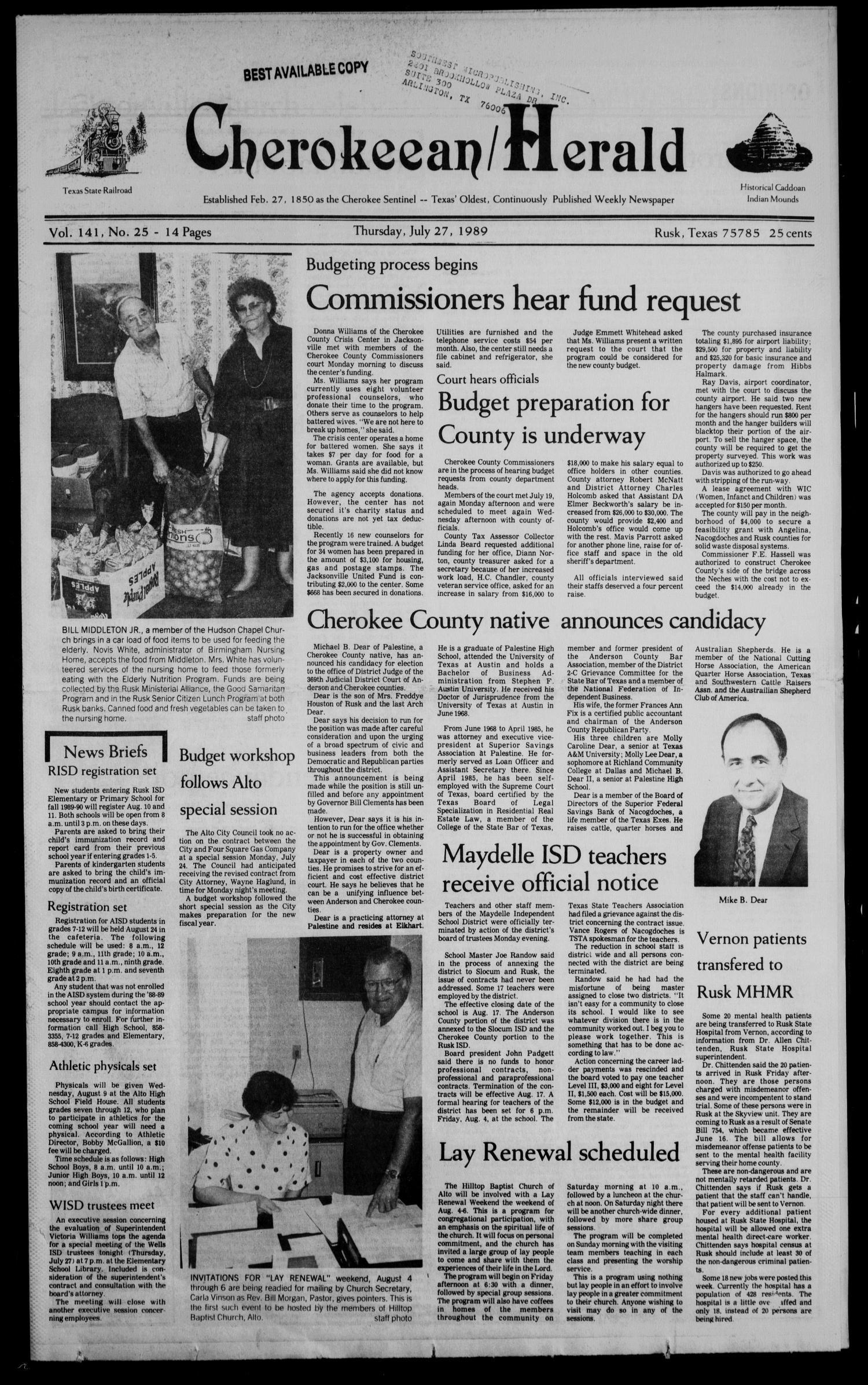 Cherokeean/Herald (Rusk, Tex.), Vol. 141, No. 25, Ed. 1 Thursday, July 27, 1989                                                                                                      [Sequence #]: 1 of 26