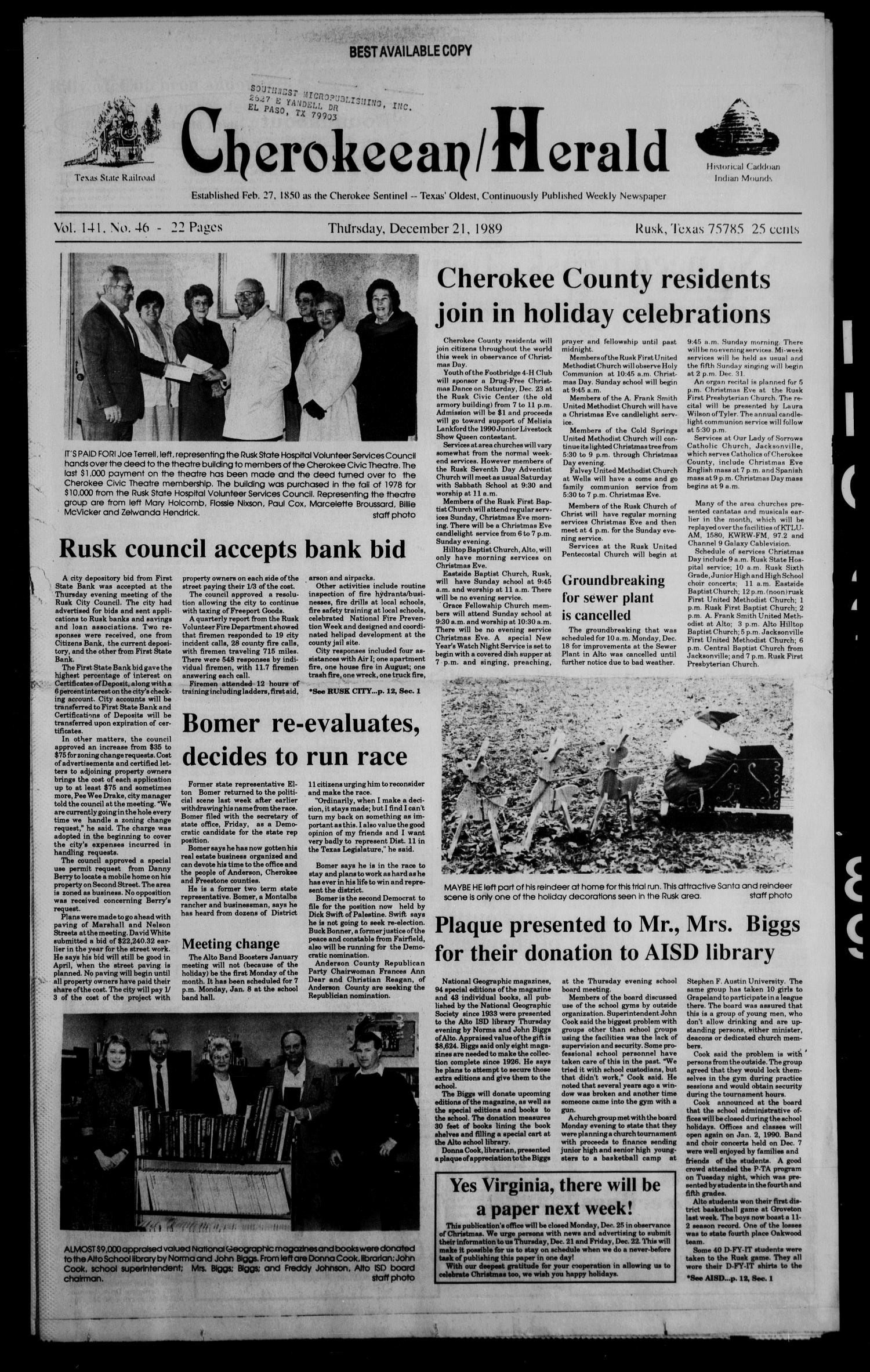 Cherokeean/Herald (Rusk, Tex.), Vol. 141, No. 46, Ed. 1 Thursday, December 21, 1989                                                                                                      [Sequence #]: 1 of 28
