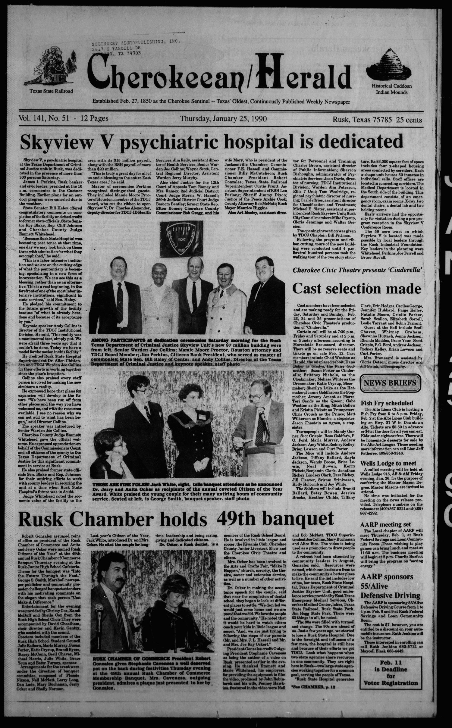 Cherokeean/Herald (Rusk, Tex.), Vol. 141, No. 51, Ed. 1 Thursday, January 25, 1990                                                                                                      [Sequence #]: 1 of 24