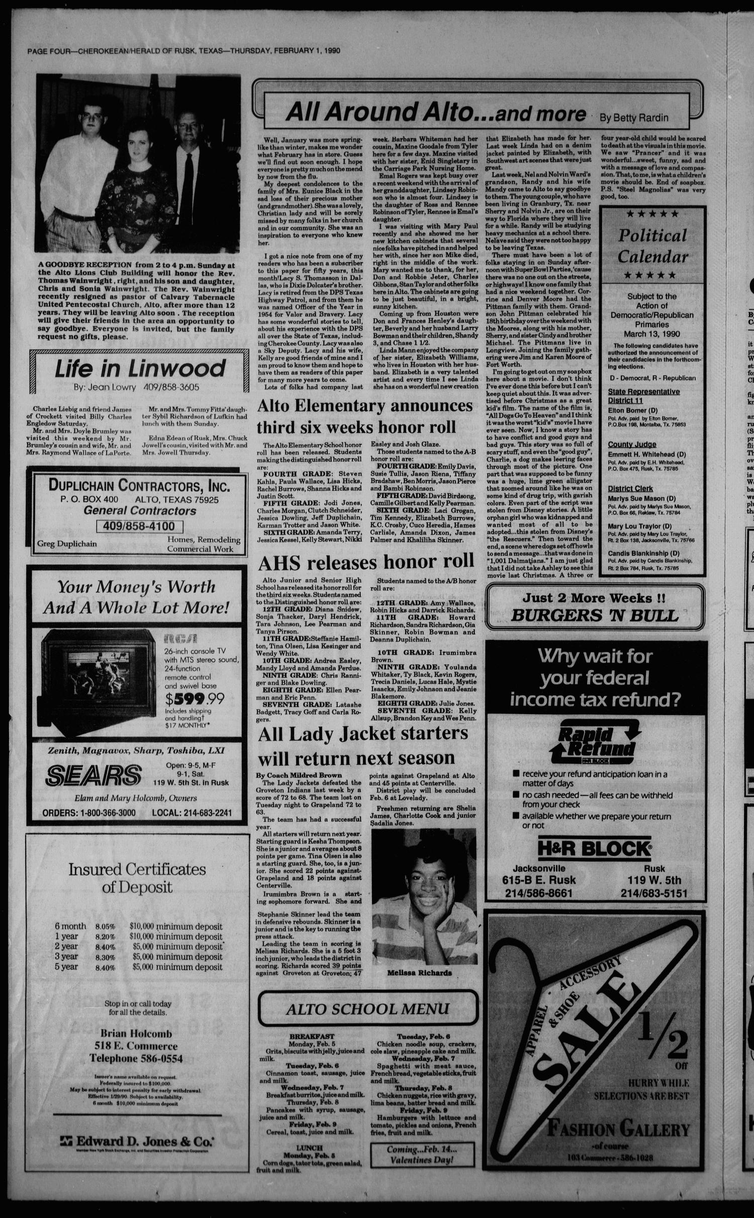 Cherokeean/Herald (Rusk, Tex.), Vol. 141, No. 52, Ed. 1 Thursday, February 1, 1990                                                                                                      [Sequence #]: 4 of 16