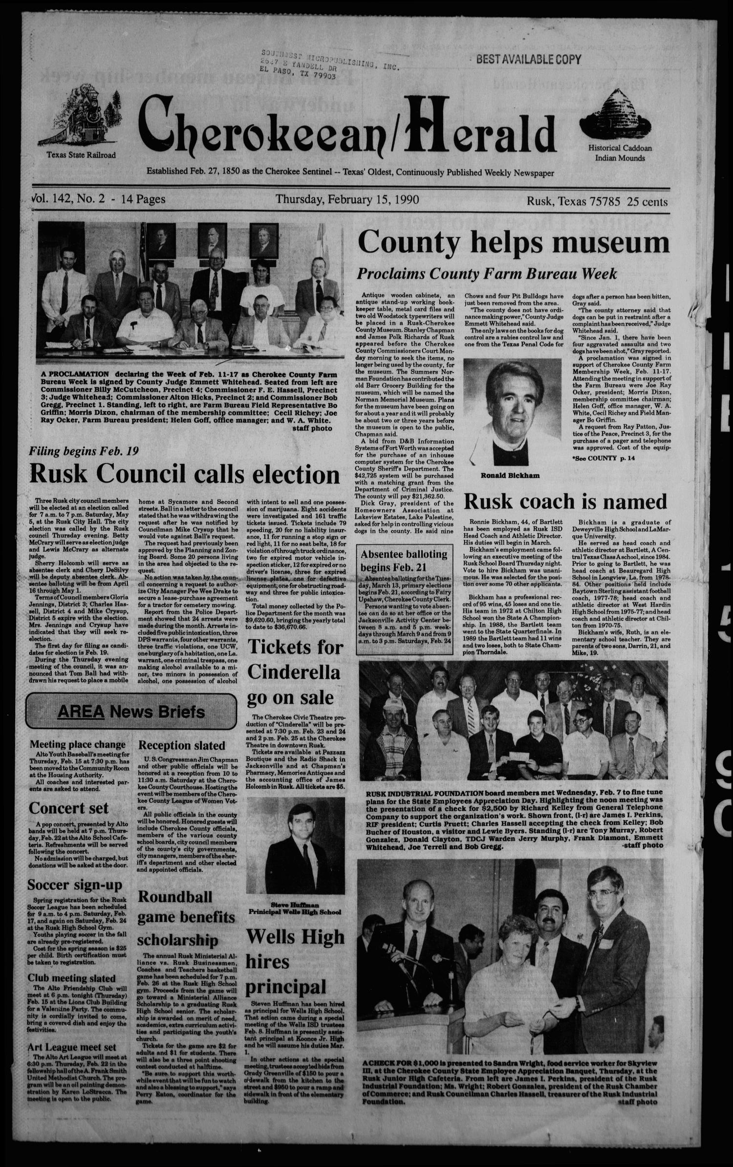 Cherokeean/Herald (Rusk, Tex.), Vol. 142, No. 2, Ed. 1 Thursday, February 15, 1990                                                                                                      [Sequence #]: 1 of 18