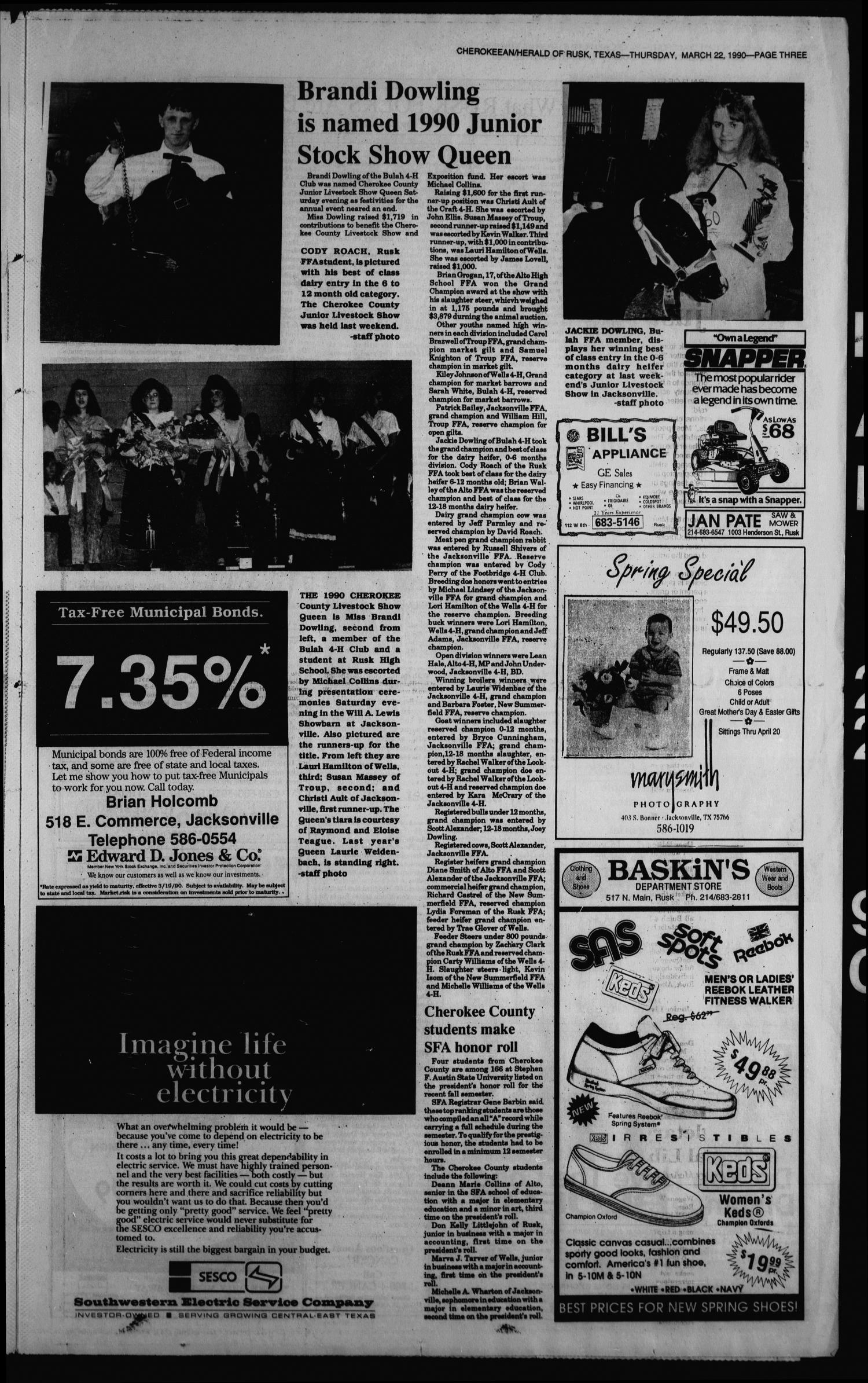 Cherokeean/Herald (Rusk, Tex.), Vol. 142, No. 7, Ed. 1 Thursday, March 22, 1990                                                                                                      [Sequence #]: 3 of 18