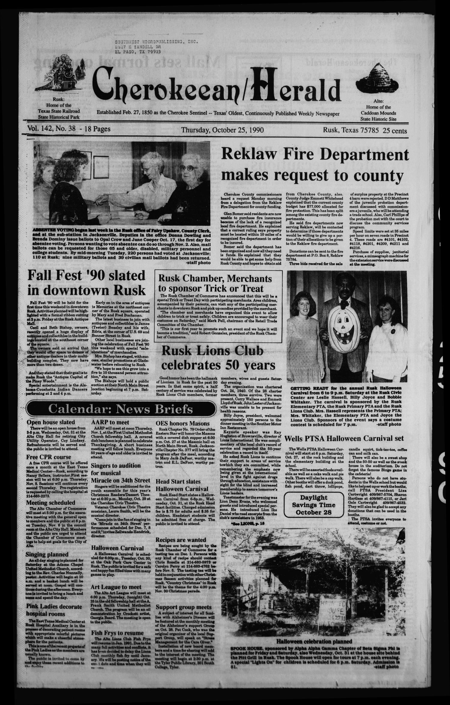 Cherokeean/Herald (Rusk, Tex.), Vol. 142, No. 38, Ed. 1 Thursday, October 25, 1990                                                                                                      [Sequence #]: 1 of 38