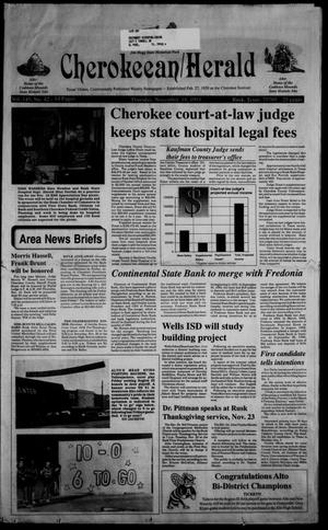 Primary view of object titled 'Cherokeean/Herald (Rusk, Tex.), Vol. 145, No. 42, Ed. 1 Thursday, November 18, 1993'.
