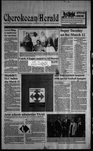 Primary view of object titled 'Cherokeean/Herald (Rusk, Tex.), Vol. 148, No. 6, Ed. 1 Thursday, March 7, 1996'.