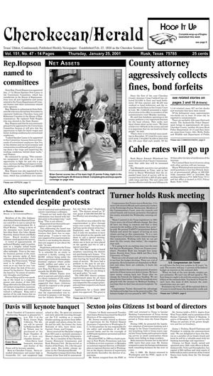 Cherokeean/Herald (Rusk, Tex.), Vol. 151, No. 47, Ed. 1 Thursday, January 25, 2001