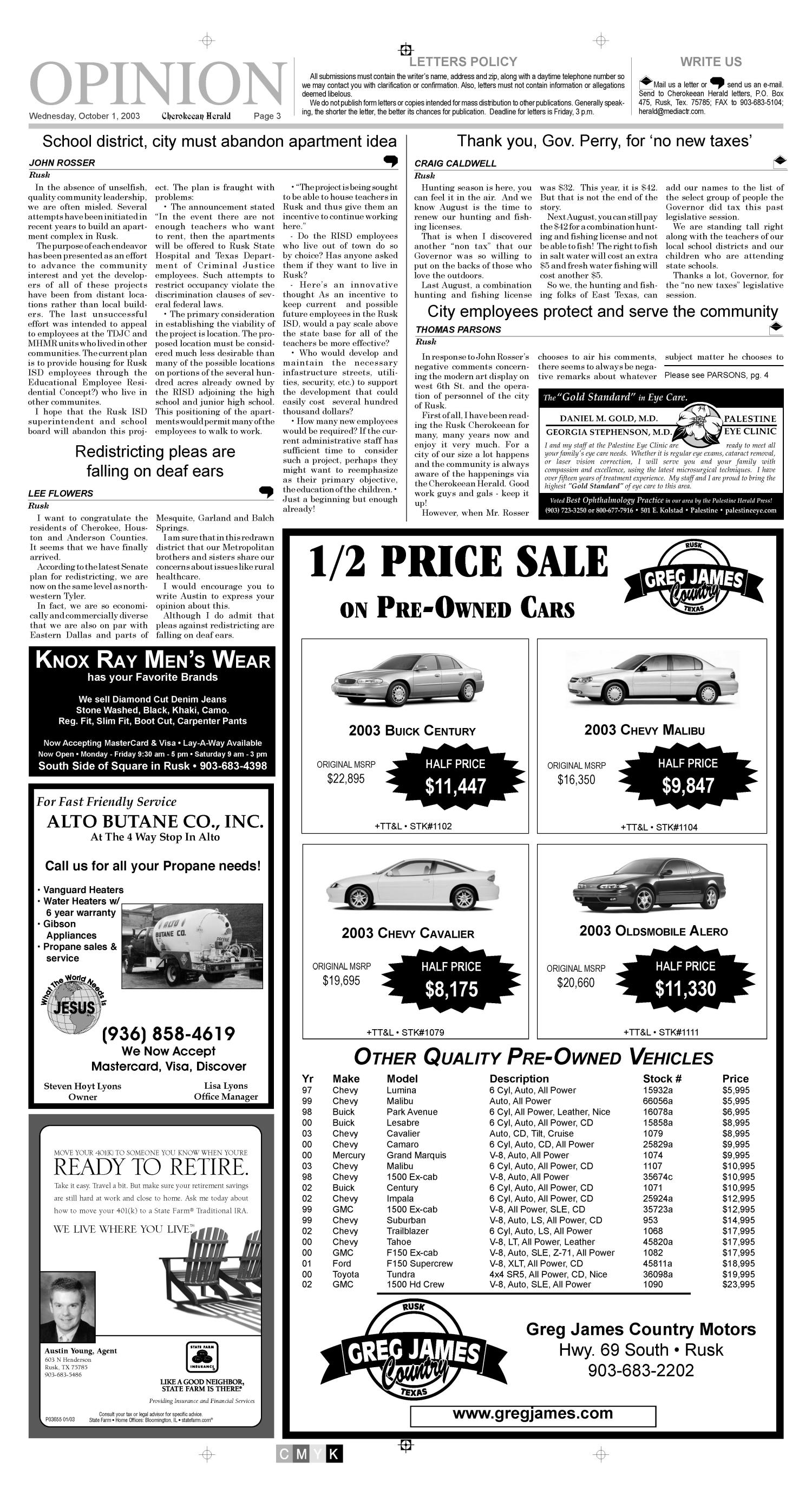 Cherokeean Herald (Rusk, Tex.), Vol. 154, No. 32, Ed. 1 Wednesday, October 1, 2003                                                                                                      [Sequence #]: 3 of 16