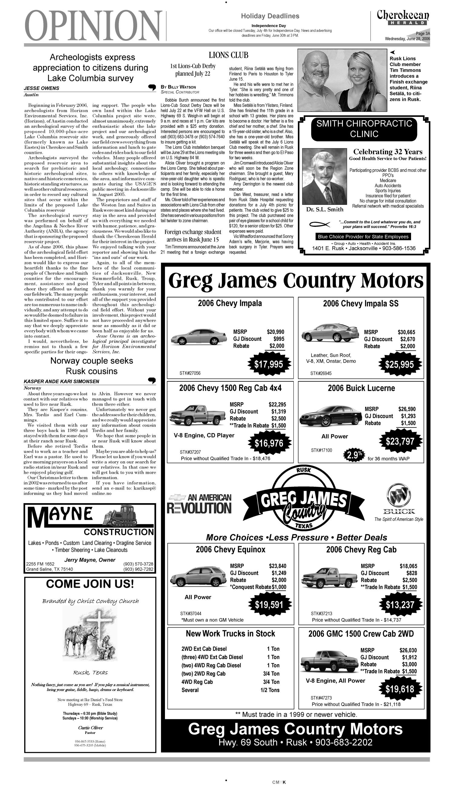 Cherokeean Herald (Rusk, Tex.), Vol. 157, No. 19, Ed. 1 Wednesday, June 28, 2006                                                                                                      [Sequence #]: 3 of 16
