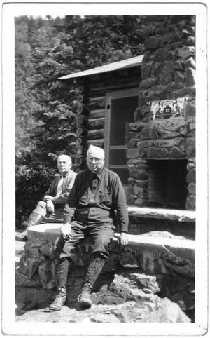 Primary view of object titled '[Col. Hugh B. Moore and guest at the cabin]'.