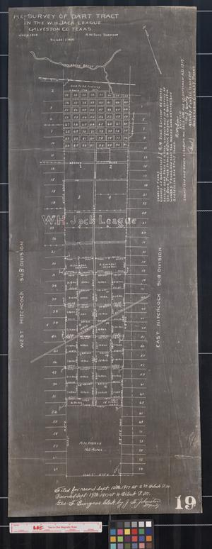 Primary view of object titled 'Re-Survey of Dart Tract in the W.H. Jack League, Galveston Co. Texas, 1914.'.