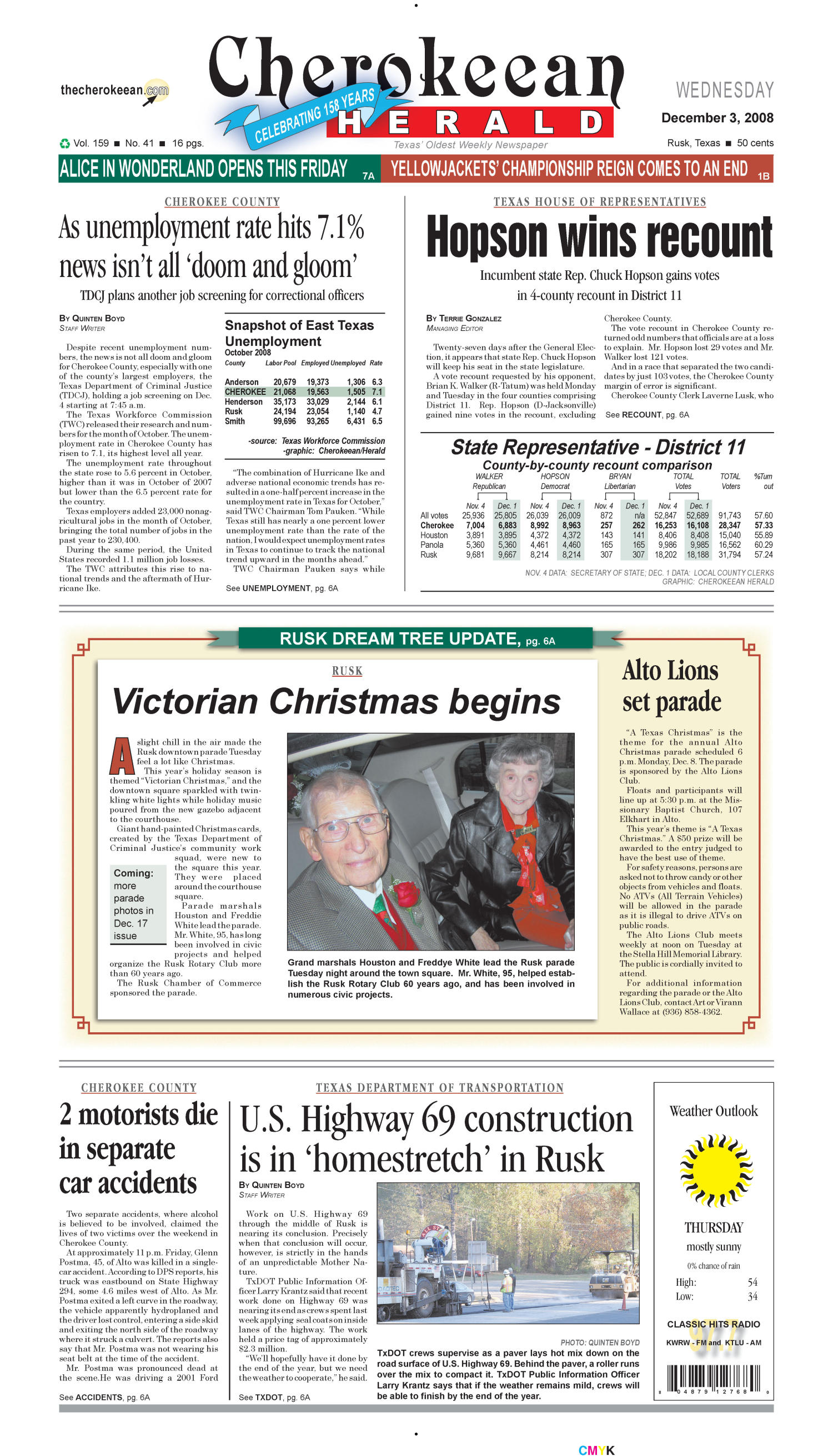 Cherokeean Herald (Rusk, Tex.), Vol. 159, No. 41, Ed. 1 Wednesday, December 3, 2008                                                                                                      [Sequence #]: 1 of 16