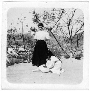 Primary view of object titled '[Helen Moore with a young girl in Mexico in 1910]'.
